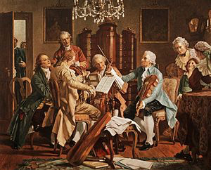 Haydn (on right, in blue) and friends playing string quartets